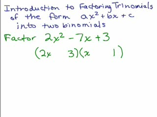 Factoring 8-Trinomials Part 1-Trial Factors preview image