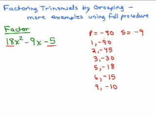Factoring 12 - Trinomials Part 5 preview image