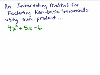 Factoring14b-Trinomials part 8 New Method preview image