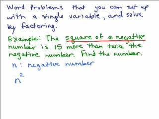 Factoring Application Problems videos