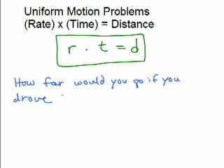 Uniform Motion Problems videos
