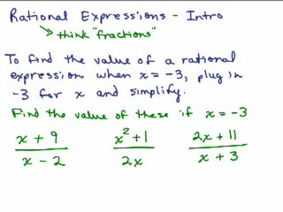 Rational Expressions 1 - Introduction preview image