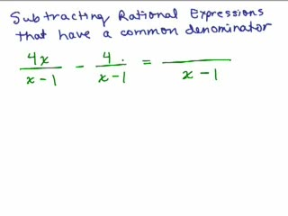 Rational Expressions 6 - Subtracting with Common Denominator preview image