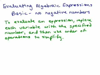 Evaluating Algebraic Expressions 1 preview image