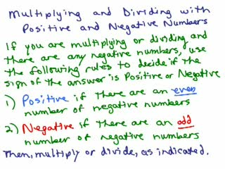 Multiplying & Dividing Positive & Negative Numbers preview image
