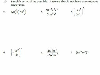 Elementary Algebra Practice Exam Solutions #15-16 preview image