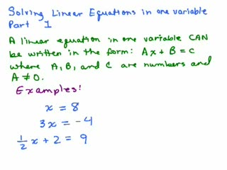 Solving Linear Equations videos
