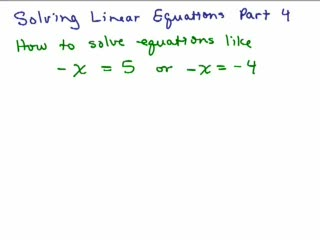 Solving Linear Equations Part 4 preview image
