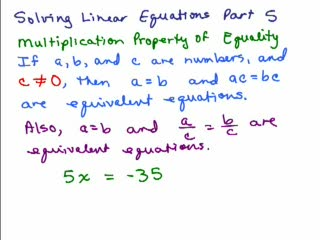 Solving Linear Equations Part 5 preview image
