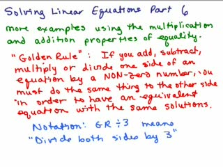 Solving Linear Equations Part 6 preview image