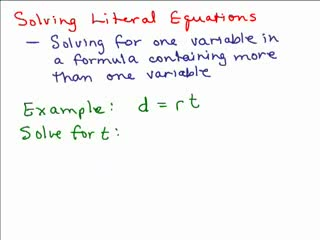 Solving Literal Equations videos