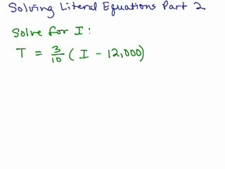 Solving Literal Equations Part 2 preview image